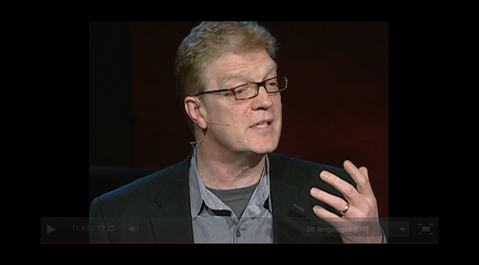 Picture of Ken Robinson giving a Ted Talk.