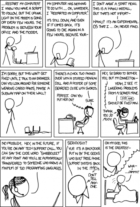 Drawn cartoon from xkcd, called Tech Support