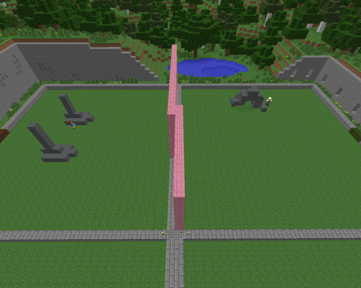 Screenshot of two students flying around and building robots in MinecraftEdu. Here they build the feet!