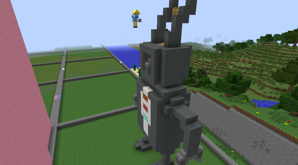 Screenshot of Oliver flying in front of his robot. Spikey head dress takes form.