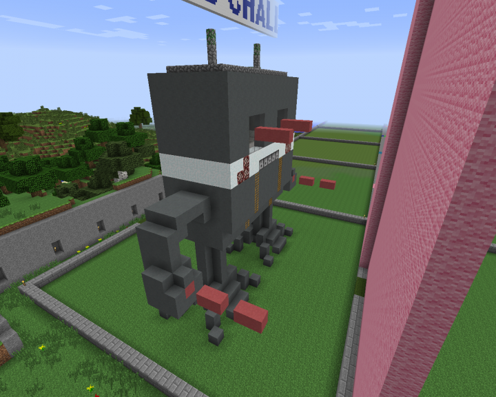 Screenshot of Devon's bot complete with antena and blazing arms and eyes.