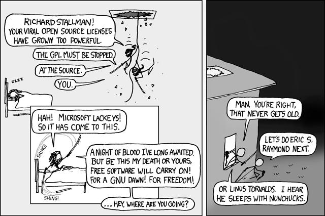 Two panel cartoon. Jokers raiding Richard Stallman's house at night.