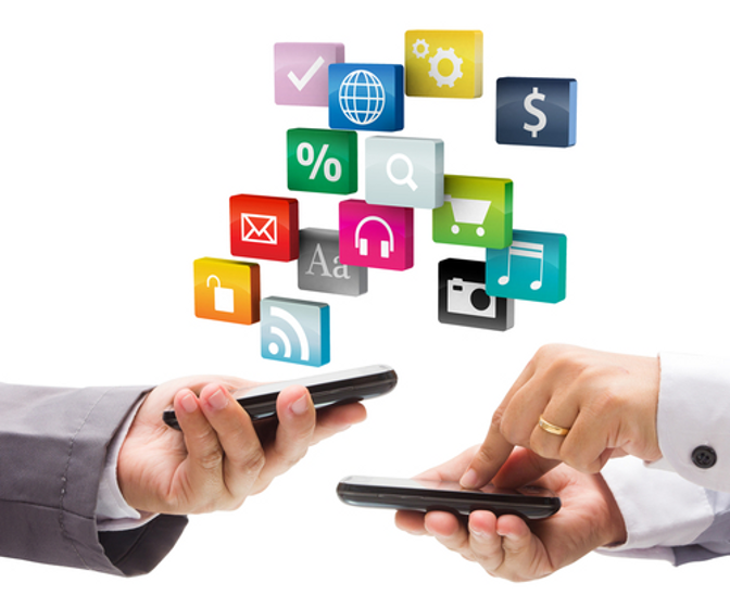 Picture of two people's hands using data phones against a clean white background. Floating above them are icons representing various online activities.