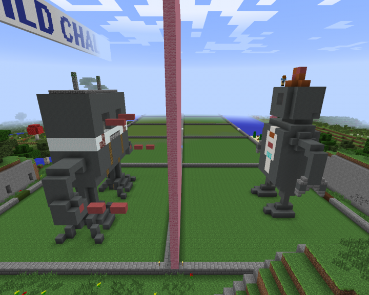 Screenshot of the two robots with the heads almost complete.